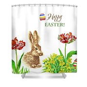 Spring Rabbit And Flowers Shower Curtain