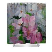 Spring Rain Oil Painting Shower Curtain