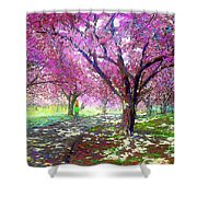 Spring Rhapsody, Happiness And Cherry Blossom Trees Shower Curtain