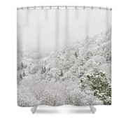 Spring Snow And Fog Highlands Shower Curtain
