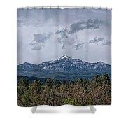 Spring Storm Behind Pagosa Peak Shower Curtain by Jason Coward