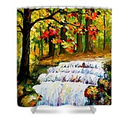 Spring Stream - Palette Knife Oil Painting On Canvas By Leonid Afremov Shower Curtain