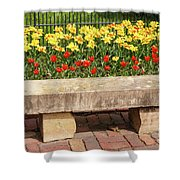 Spring Surrounds The Bench Shower Curtain