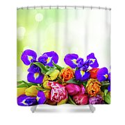 Spring Tulips And Irises Shower Curtain