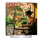 Spring, View From A Cafe Window In Paris Shower Curtain