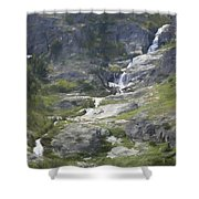 Spring Waterfall In The Tetons Shower Curtain