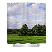 Spring Windy Day On Green Field Shower Curtain