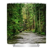 Spring Woods Greenery Shower Curtain