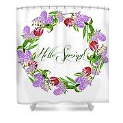 Spring Wreath Shower Curtain