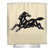 Springend Paard Met Het Hoofd Naar Achteren Gedraaid Shower Curtain