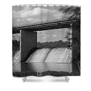 Springfield Lake Dam Grayscale Shower Curtain