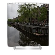 Springtime Amsterdam - Boathouses And Miniature Gardens Shower Curtain