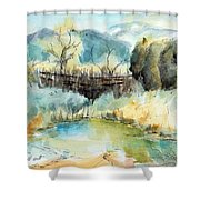 springtime at Fred Baca Park in Taos, NM Shower Curtain