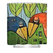 Springtime Lovebirds Shower Curtain