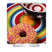Sprinkled Donut On Circle Plate With Bowl Shower Curtain