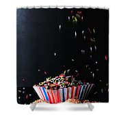 Sprinkles On Cup Cakes Shower Curtain