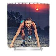Sprinter Woman On The Start Shower Curtain