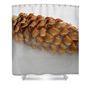 Spruce Tree Cone In The Snow Shower Curtain