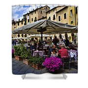 Square Amphitheater In Lucca Italy Shower Curtain by David Smith
