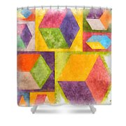 Square Cubes Abstract Shower Curtain