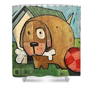 Square Dog Shower Curtain