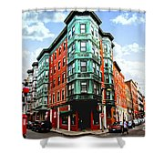 Square In Old Boston Shower Curtain by Elena Elisseeva