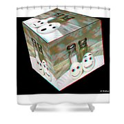 Square Meal - Use Red-cyan 3d Glasses Shower Curtain