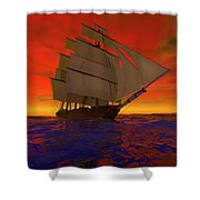 Square-rigged Ship At Sunset Shower Curtain