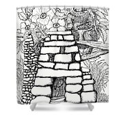 Square Rock Fairy House And Squirrel Shower Curtain