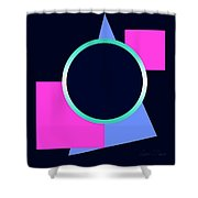 Squares And Triangle Subsumed By Circle Shower Curtain