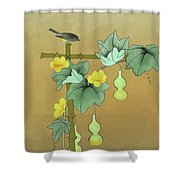 Squash Vine And Bamboo Shower Curtain