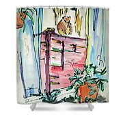 Squirrel On Fence Shower Curtain