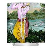 The Divine Flute Player, Sri Krishna Shower Curtain