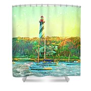 St Augustine Lighthouse Waterscaped Shower Curtain