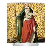 St. Catherine Of Alexandria Shower Curtain by Josse Lieferinxe
