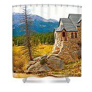 St. Catherine's Church In Autumn Shower Curtain