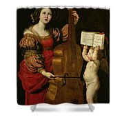 St. Cecilia With An Angel Holding A Musical Score Shower Curtain by Domenichino