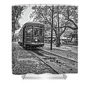 St. Charles Streetcar Monochrome Shower Curtain