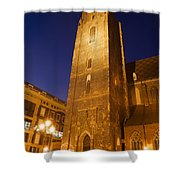 St. Elizabeth's Church Tower At Night In Wroclaw Shower Curtain