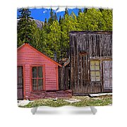 St. Elmo Pink House And Barn Shower Curtain