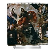 St Francis Of Assisi In The Portiuncula With  Donors Antonio Contreras And Maria Amezqueta Shower Curtain
