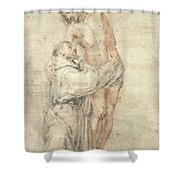 St Francis Rejecting The World And Embracing Christ Shower Curtain by Bartolome Esteban Murillo
