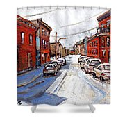 St Henri Depanneur Canadian Paintings Mini Montreal Masterpieces For Sale Petits Formats A Vendre  Shower Curtain