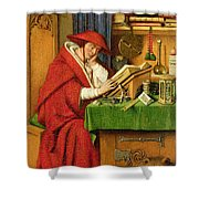 St. Jerome In His Study  Shower Curtain by Jan van Eyck