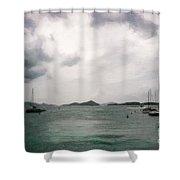 St John - Boats Islands Clouds Shower Curtain