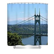 St Johns Bridge And Mount Hood Shower Curtain