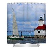 St. Joseph Lighthouse Sailboat Shower Curtain