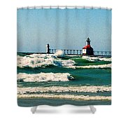 St. Joseph River Lighthouse Shower Curtain