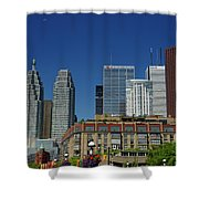 St Lawrence Market And Gooderham Flatiron Building With Cn Tower Shower Curtain