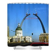 St. Louis Arch Construction Shower Curtain